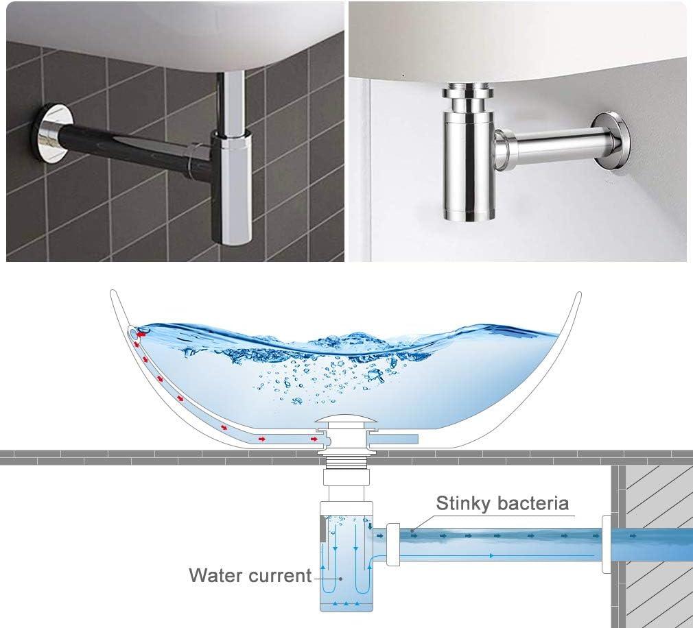 Lonheo Sif/ón lavabo cromado extensible Desague fregadero sif/ón de tubo ajustable Sif/ón de olores universal para fregaderos y lavabos