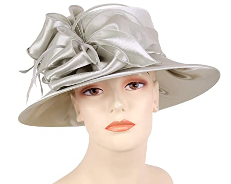 60f4ebbf726 Ms Divine Women s Satin Year Round Church Dress Formal Hats  HL25 (Silver)
