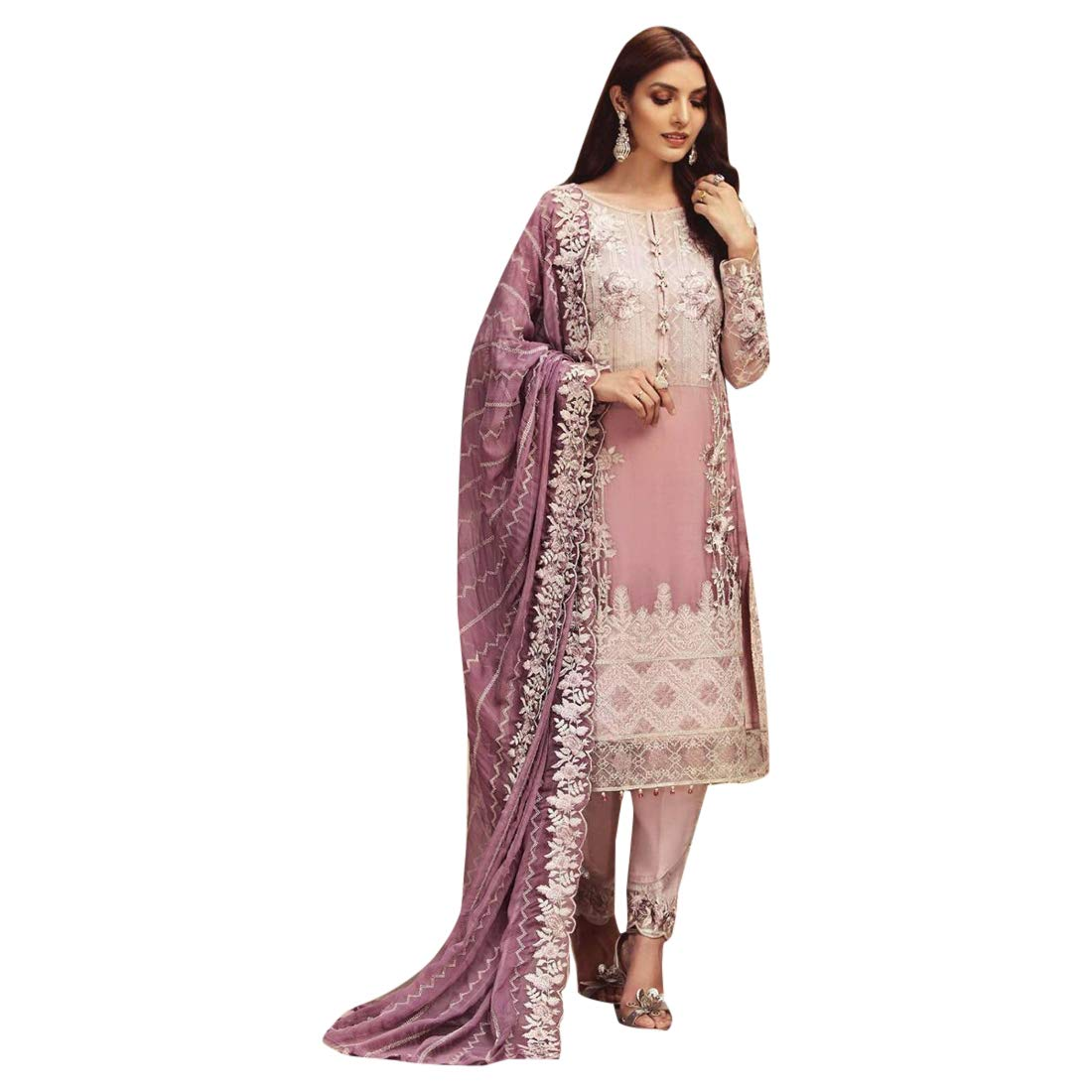 Light Purple ETHNIC EMPORIUM Pakistani Pants Suit Designer Salwar Kameez Net Ready to Wear Indian Muslim Lawn Christmas 7423