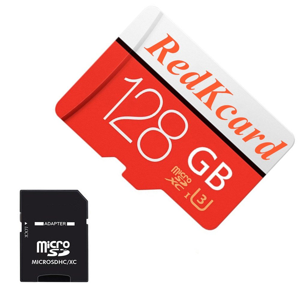 RedKcard Micro SD Card Memory Card Mini SD Card SDHC SDXC TF Card for Smartphone Tablet (128GB, Red)