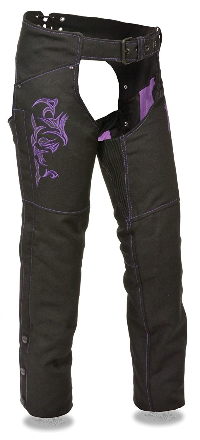 WOMEN\'S MOTORCYCLE MOTORBIKE TEXTILE CHAP PURPLE REFLECTIVE EMBROIDERY BLACK NEW (M Regular) Unbranded