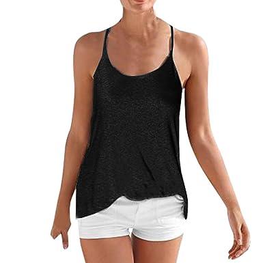 Guesspower Top Chic Femme Chemisie Sexy Dos- Nu Femmes sans Manches Lches  Tops Été Décontracté T Shirt Tank Blouse Camis Top Blouse Noir S ~ XL   Amazon.fr  ... 2824008d737d