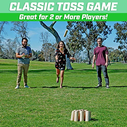 GoSports Skittle Scatter Numbered Block Toss Game with Scoreboard and Tote Bag | Fun Outdoor Game for All Ages