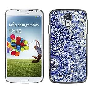 Smartphone Rígido Protección única Imagen Carcasa Funda Tapa Skin Case Para Samsung Galaxy S4 I9500 Wallpaper Blue Floral Pattern Art Native Royal / STRONG