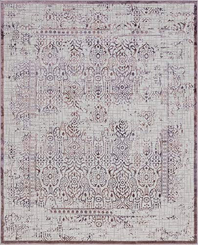 - Unique Loom Aberdeen Collection Tone-on-Tone Traditional Textured Vintage Violet Area Rug (8' 0 x 10' 0)