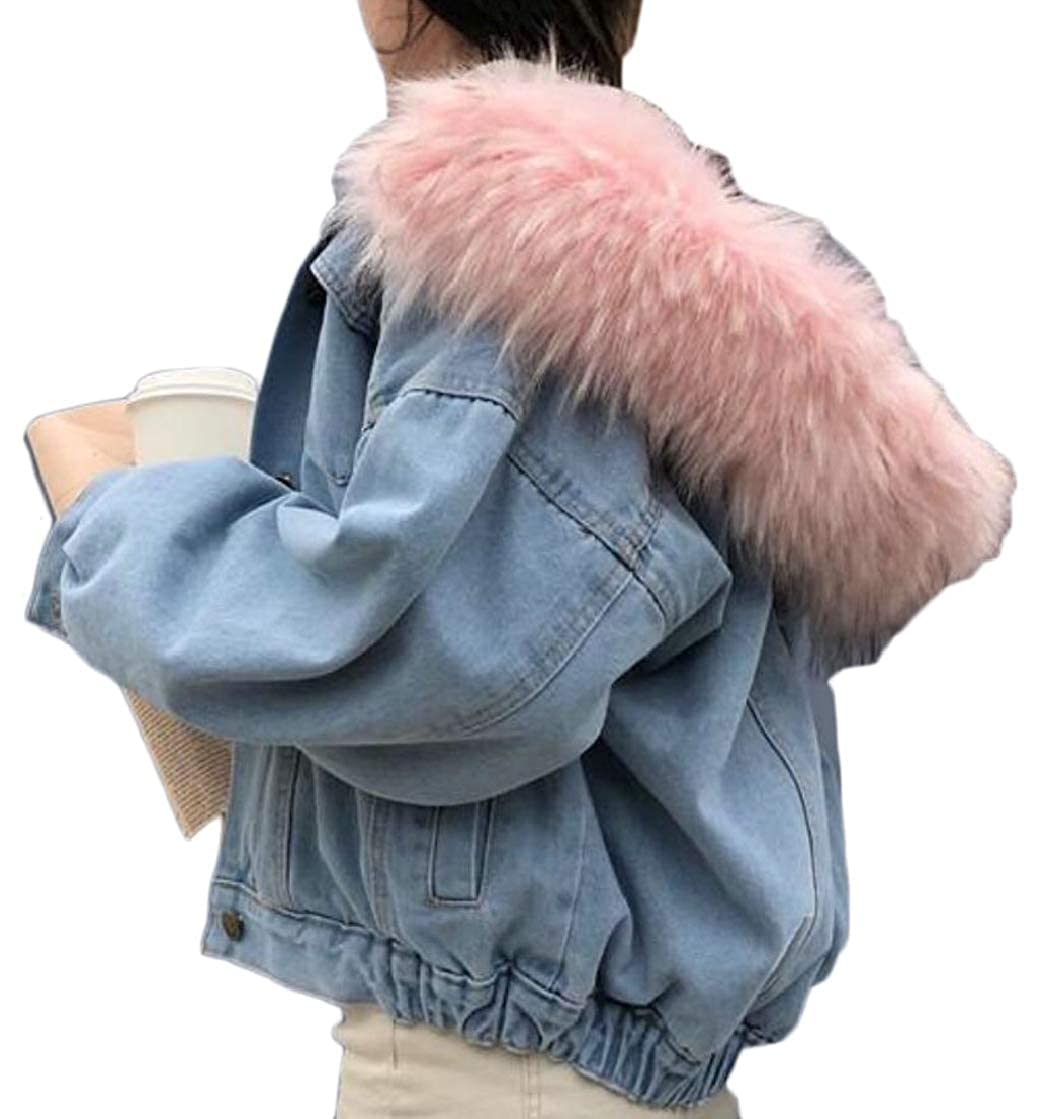 2 desolateness Women Long Sleeve ShearlingLined Fur Hooded Denim Jacket Coat Outwear