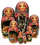 Summer Forest Exclusive 7-Piece Nesting Doll Wild Forest Animals Original Work of Art by GreatRussianGiffts