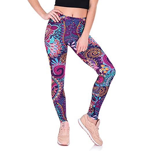 8de8434aaa WM&MW Dance Leggings,Womens Colorful Feather Print Yoga Pants Gym Sports  Fitness Stretch Trouser (
