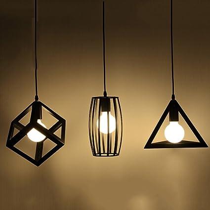 Lámpara LED de Hierro, Pueblo Americano Negro Triple Cabeza ...