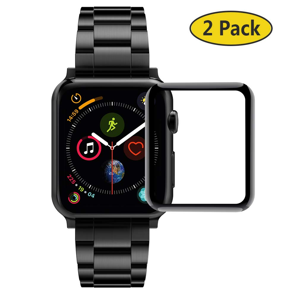 GeeRic (2 Pack Compatible Apple Watch 40mm Screen Protector Tempered Glass Film for Apple Watch Series 4 [Carbon Fiber Frame Edge][Black Frame] by GeeRic