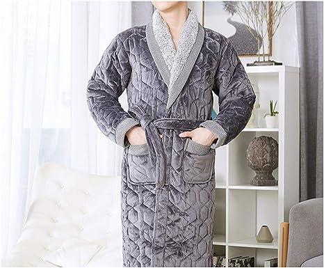 Albornoz para Hombre Terciopelo + Algodón Acolchado Hombres Grueso Talla Grande Kimono de Invierno Albornoz Homme Albornoces Calientes Pijamas Albornoz para Hombre: Amazon.es: Ropa y accesorios