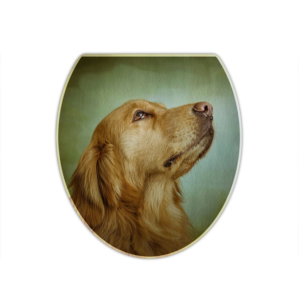 Redland Art Cute Pet Golden Retriever Dog Pattern Flannel Toilet Lid Cover for Bathroom Decor