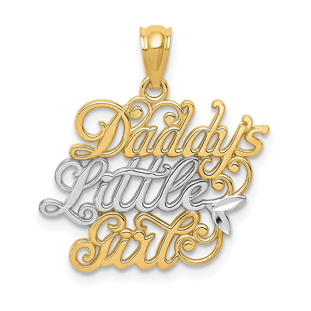 14k Two Tone Gold Daddys Little Girl Pendant