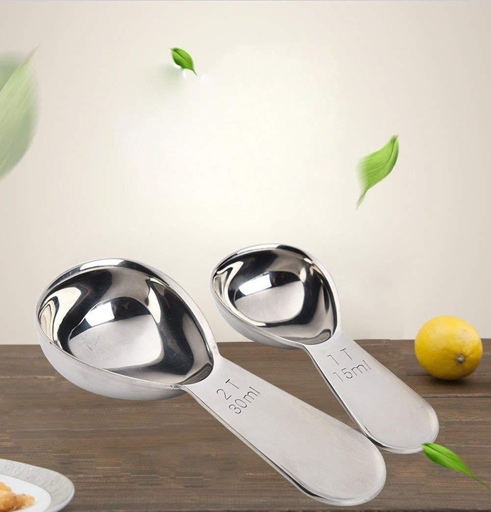 ankooki, el mejor acero inoxidable cucharas medidoras para caf/é, t/é, hornear, cocinar medici/ón 2 Tbsp Helado