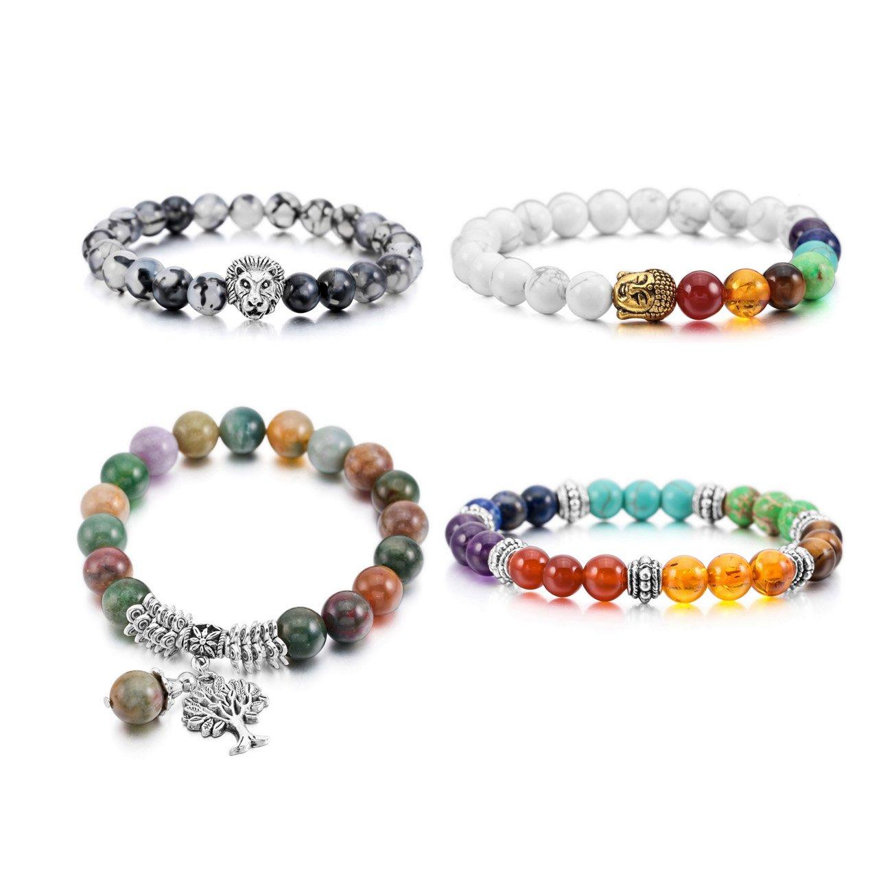 MOWOM 4~6PCS Multicolor Alloy Bracelet Wrist Link Energy Stone Buddha Mala Bead Elastic ca5020310