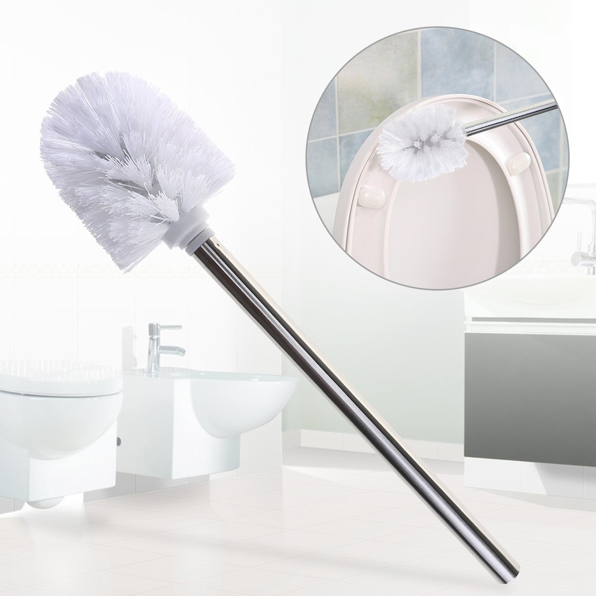 3 scopini per pulizia del bagno con manico in acciaio inox LEORX