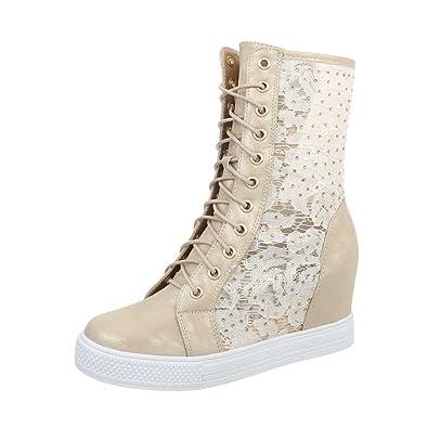 Ital-Design Sneakers High Damen-Schuhe Keilabsatz Wedge Keilabsatz  Reißverschluss Freizeitschuhe Gold, 817b85c86f