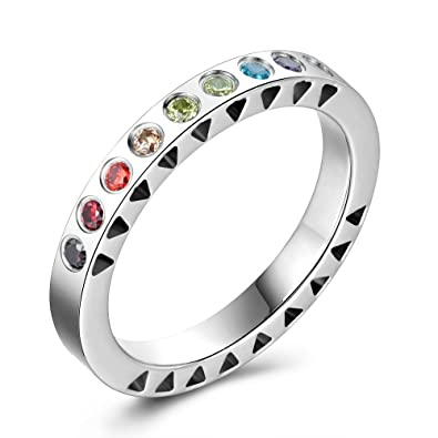 Amazon.com: 316L Acero Inoxidable Anillo Arco iris circonio ...