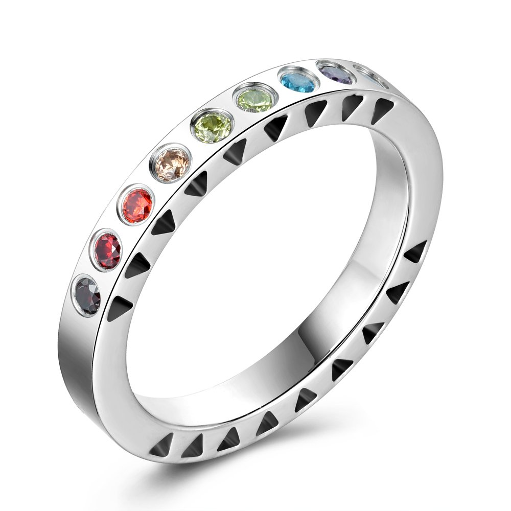 KEB1 316L Stainless Steel Ring Rainbow Cubic Zirconia 3mm Eternity Band Rings for Women (M)