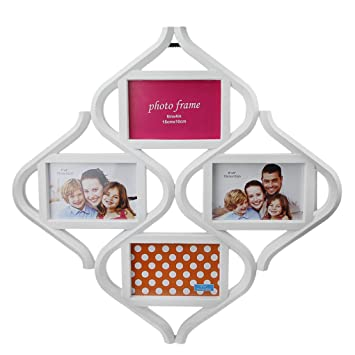 Amazon.com: Wall Hanging Wood Photo Frames with 4 Photos, Rhombus ...