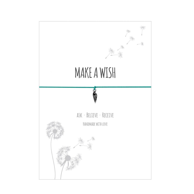 Glücksschmiedin Make a WISH - pulsera con colgante de trébol plateado, correa elástica textil en turquesa y tarjeta cariñosa: ask-believe-receive