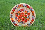 Handmade Wall Plate Wooden Tableware Painted Wall Plate Large Wooden Dish