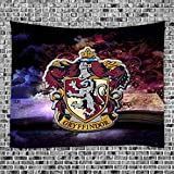 Harry Potter Tapestry Wall Hanging Hogwarts Magic School Magic Book Magic Badge Gryffindor - Polyester Fabric Wall Decor for Bedroom (GT7W, 70' x 70')