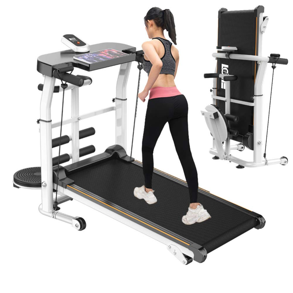CHAIJY Folding Treadmill for Home 4-in-1 Manual Running Machine Portable Foldable Treadmill Machine Tapis Roulant Pliable Adjustable Incline for Office Walking/Twisting Waist/Sit-Ups/Pulling Rope