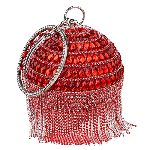 Red Mano Carteras Boda Bolso Embrague Mujer Negro Bolsas Noche Cadena Fiesta vwZqYT