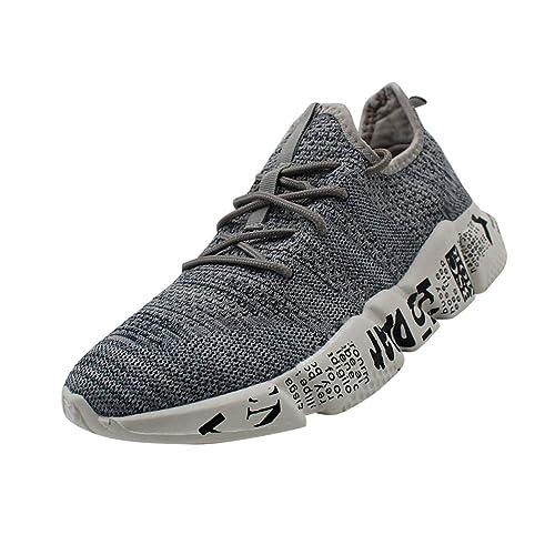 Huatime Zapatillas Running para Deporte Transpirables Gimnasio Sneakers - Zapatos para Hombre Aire Libre y Deporte Cordones Malla Amortiguador de Aire ...
