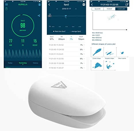 Continuously Monitor Oxygen Saturation SpO2 Respiratory Rate Heart Rate Perfusion Index Works iPhone and Android Phones White//B AUPALLA Non Battery Smart Fingertip Pulse Oximeter FDA Cleared