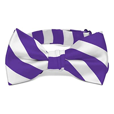 TieMart Boys' Purple and White Striped Bow Tie