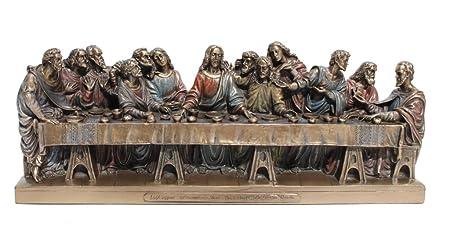 The Last Supper Jesus Twelve Apostles Statue Figurine Cold Cast Bronze