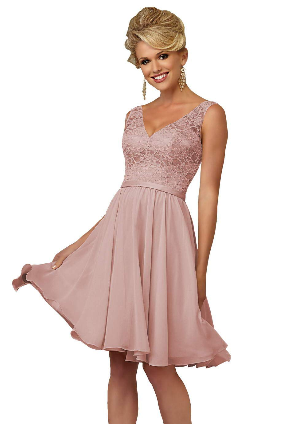 9ca80cc6a903 ... V-Neck Chiffon Bridesmaid Dress Short Formal Evening Party Gown Lace  Bodice Size 4 Dusty Rose. ; 