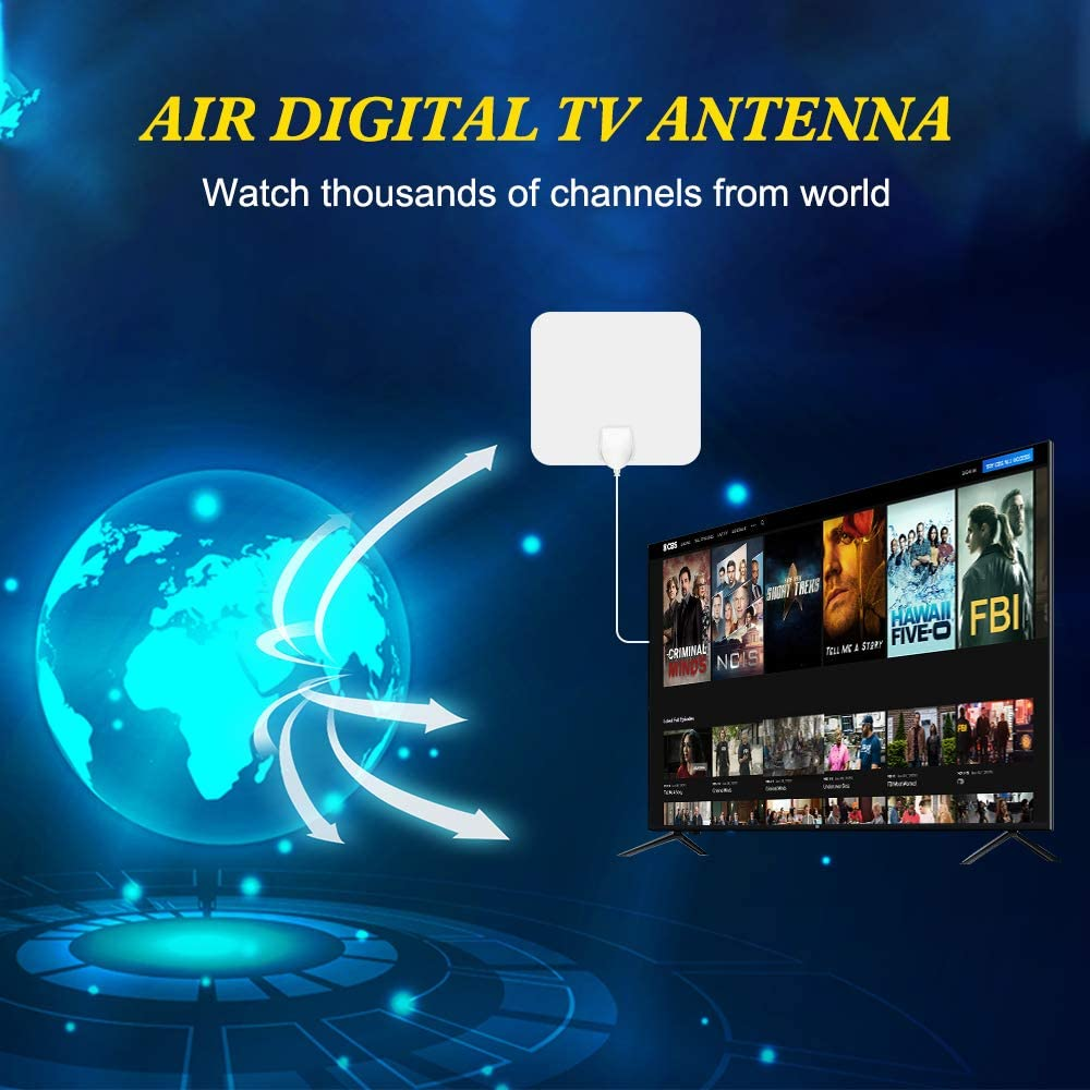 ANEAR TV Antenna HDTV Antenna Indoor Support 4K 1080P White VHF UHF Freeview Channels Antenna with Amplifier Signal Booster 80-130 Miles Range Digital Antenna 16.5 Ft Longer Coaxial Cable