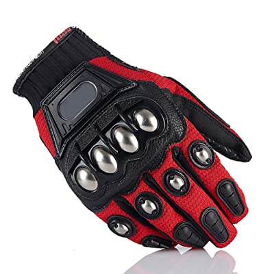 Steel Outdoor Reinforced Brass Knuckle Motorcycle Motorbike Powersports Racing Textile Safety Gloves (Red, Medium): Automotive