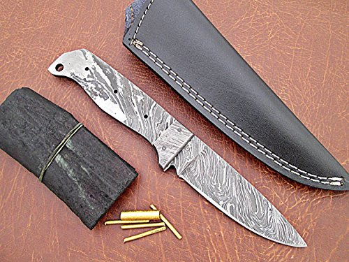 """ColdLand   8.5"""" Custom Handmade Damascus Steel Blank Blade Kit Knife Making Suppllies with Sheath, Brass Pins and Handle Scales SK102-1"""