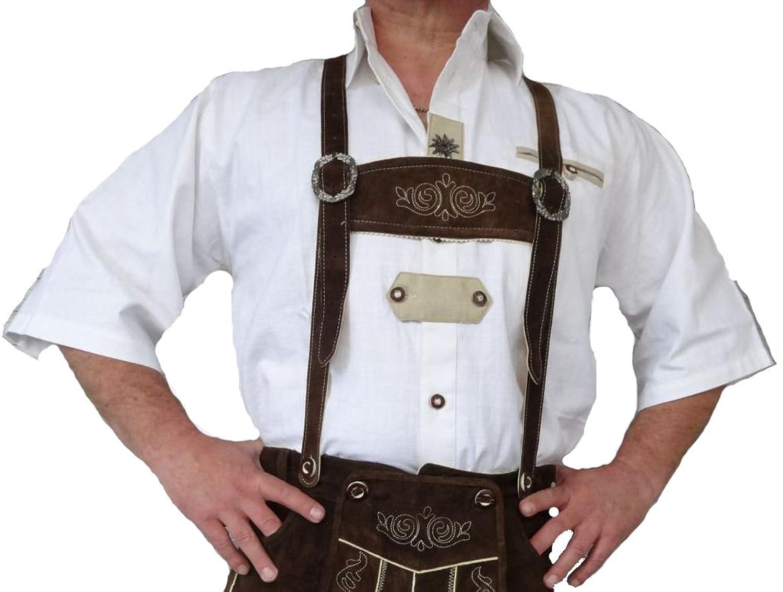Trachtenhemd Herren Kurzarm weiss Stickerei German Wear 1247 Oktoberfest M - 4XL