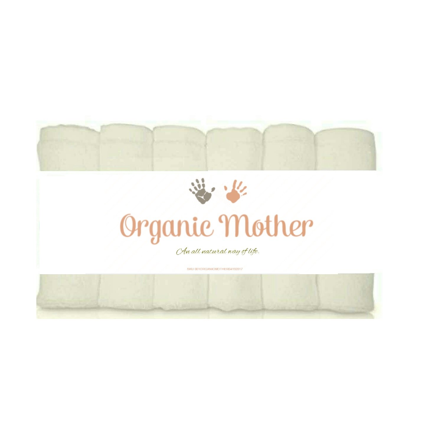 ORGANIC MOTHER 6 EXTRA SOFT Baby Bath Washcloths, 100% Natural Bamboo Towels, Dye Free, Perfect for Sensitive Baby Skin, 100% Organic, Hypoallergenic, All Natural, Bamboo, Eco Friendly- SIZE 10'' X10'' by ORGANIC MOTHER