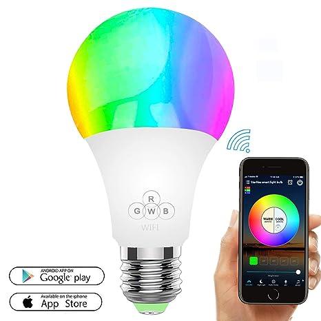 Bombilla LED inteligente, bombillas WiFi 50W Equivalente, regulable Color cambiante RGBW con control remoto APP, E27 Wake Up Lights Bombilla LED ...