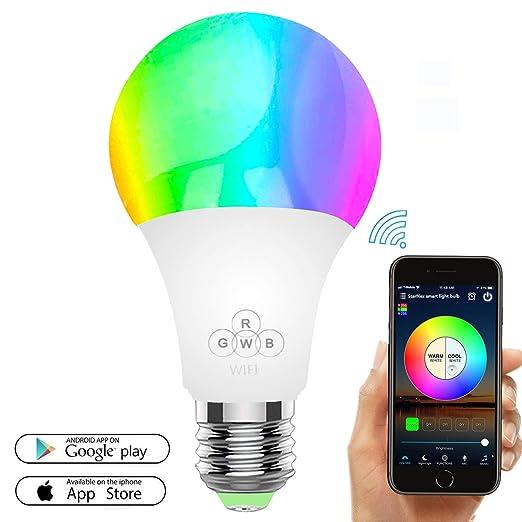 Bombilla LED inteligente, bombillas WiFi 50W Equivalente, regulable Color cambiante RGBW con control remoto APP, E27 Wake Up Lights Bombilla LED inteligente ...