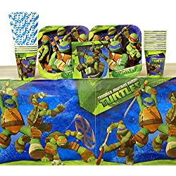 Cedar Crate Market Teenage Mutant Ninja Turtles Party Pack for 16 Guests : Straws, Plates, Napkins, Cups, and Table Cover (Bundle for 16)