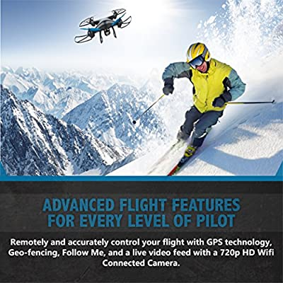 Drone - Promark - GPS Shadow Drone - Premier GPS-Enabled Drone with Follow Me Technology - 6-Axis Gyroscope for Panoramic Shots - Lithium Batteries Included - 720p WiFi Camera