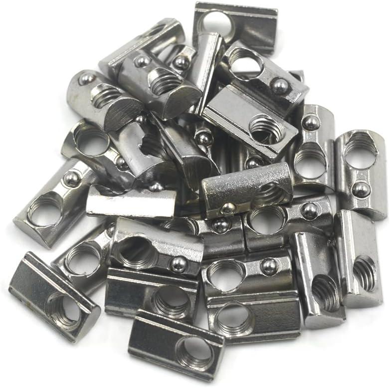 Accesorios de perfil de aluminio media ronda en primavera de acero al carbono 1 tuerca de ranura en T de bola de resorte enrollable tuerca de ranura en T con rosca M3