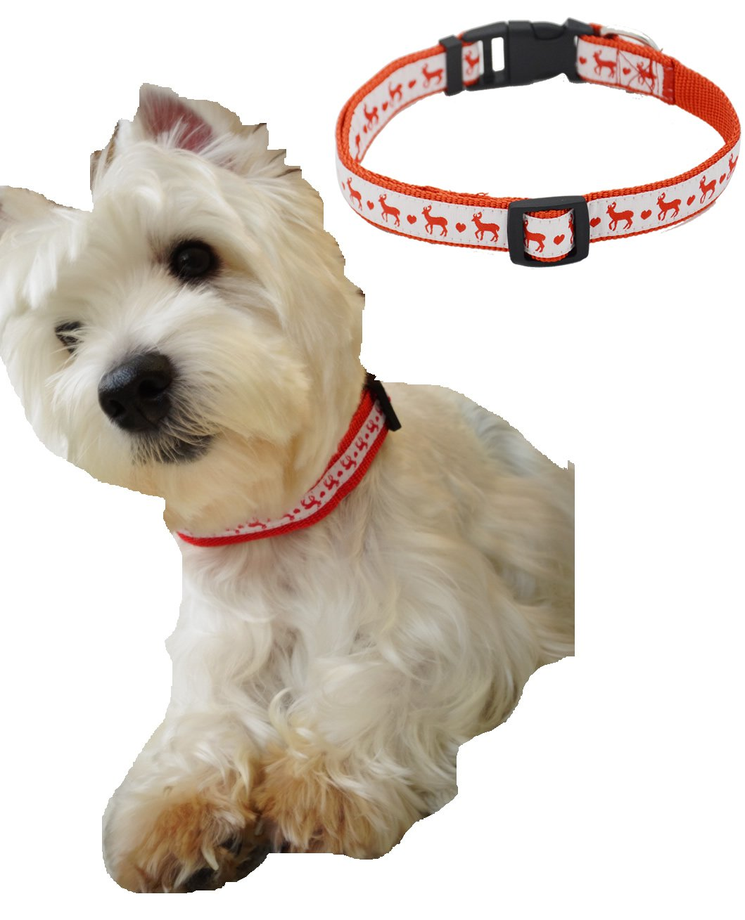 Large Christmas Holiday Dog Collars for Medium Large Dogs, Adjustable 18-26  Red Large (L) Size