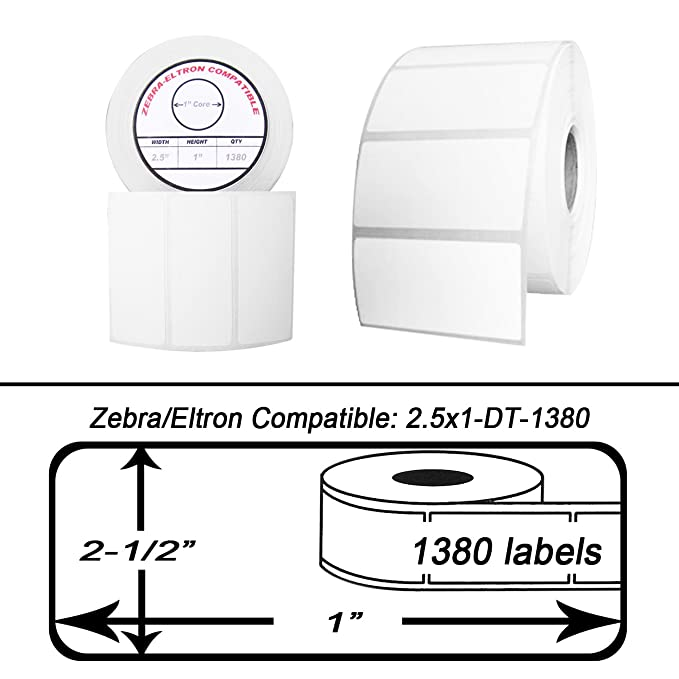 "25 Rolls//1380 Labels of 2.5x1 2-1//2/"" x 1/"" Direct Thermal Zebra Eltron Labels"