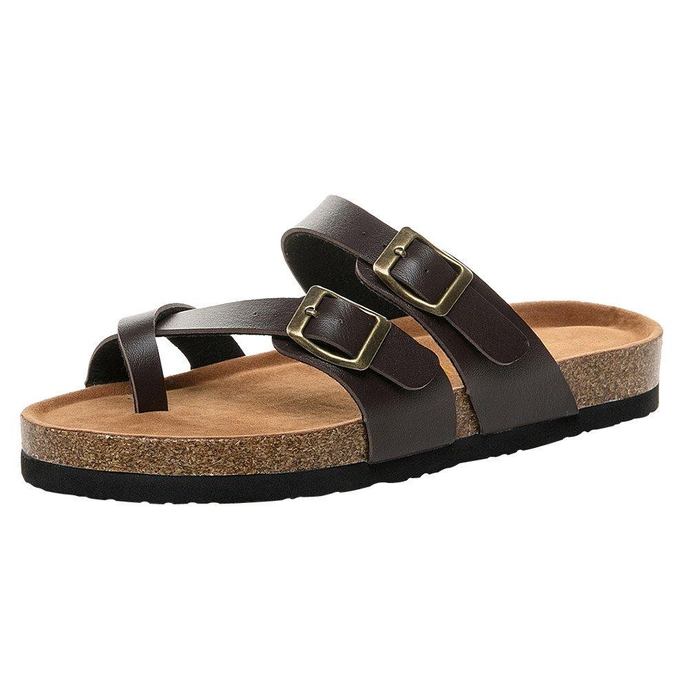 Kauneus  Women's Toe Ring Cork Sandal/Classic Ladies Sandal/Flat Footed Dual Adjustable Buckle/Breathable Open Toe Slide Brown