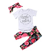 Baby Girls Little Sister Bodysuit Tops Floral Pants Bowknot Headband Outfits Set (6-9 Months, Style 1 Short Sleeve)