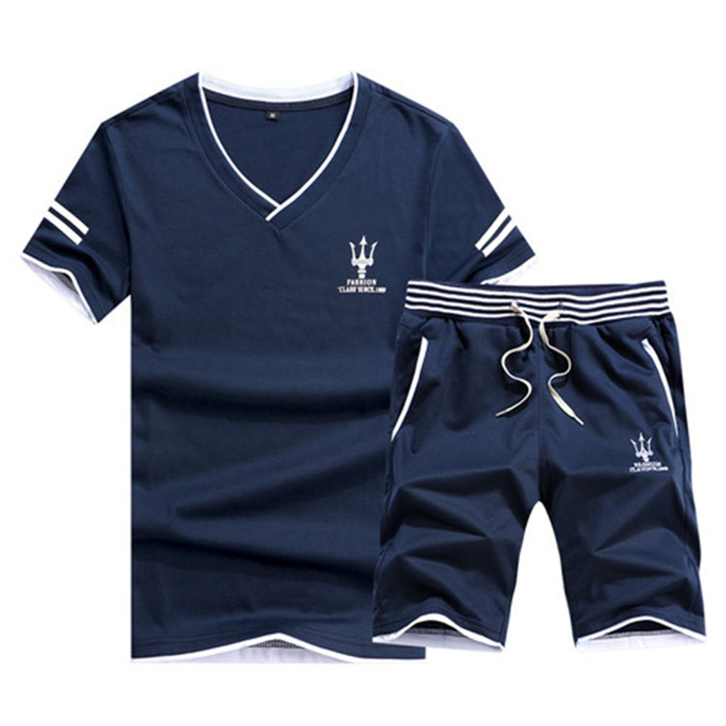 Real Spark Men's Casual Athletic Shirts & Shorts Set 2 Piece Active Tracksuit Outfit Navyblue XXS