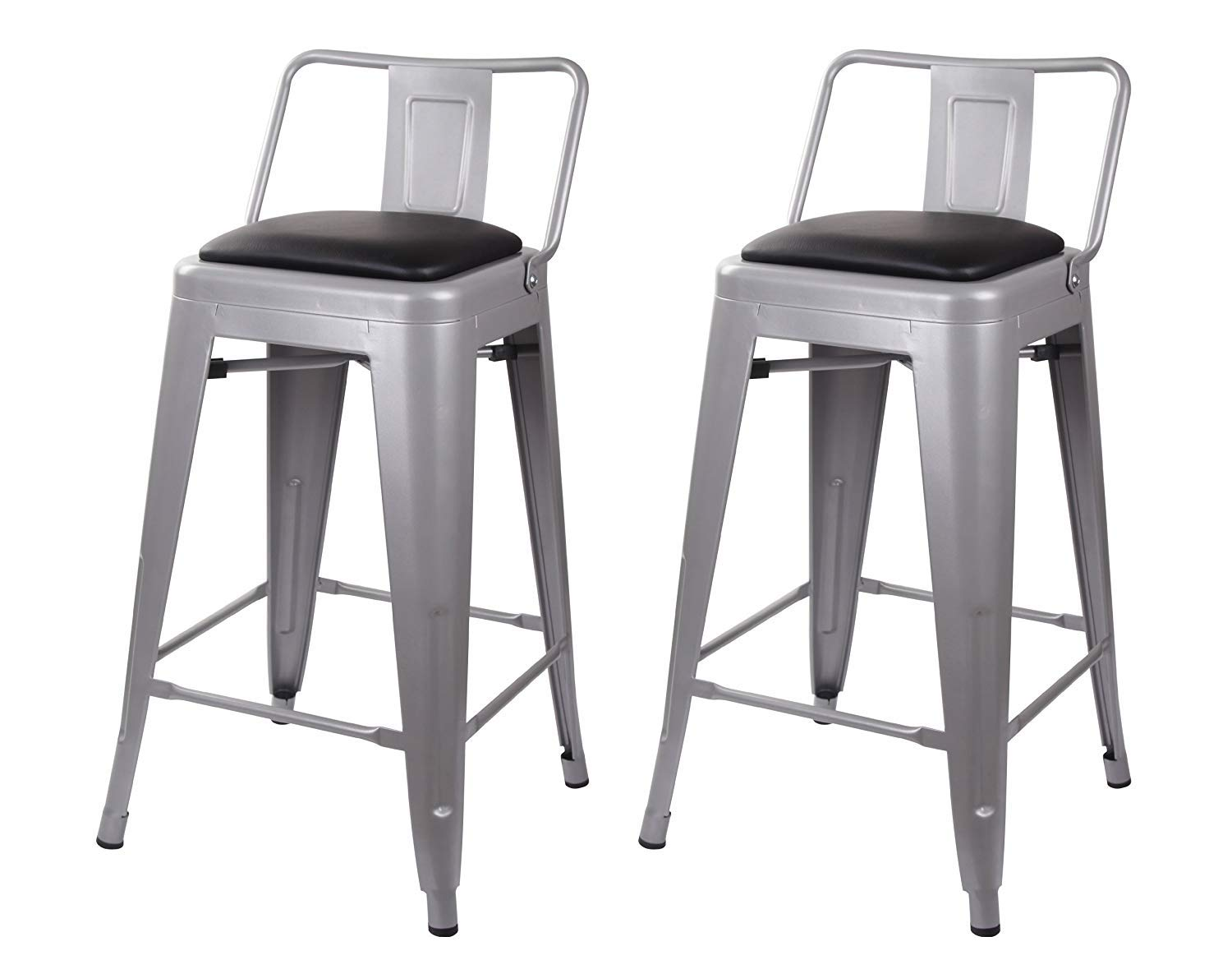 GIA 24-Inch Low Back Stool with Faux Leather Seat, Gray Black, 2-Pack